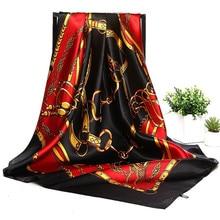 סתיו נשים משי צעיף פסים מוסלמי ראש כיכר צעיף סאטן כורכת יוקרה מותג חיג אב בנדנה גדול מטפחת 90*90cm