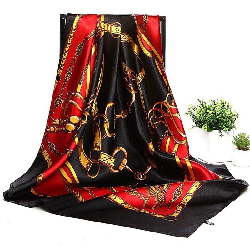 Autumn Women Silk   Scarf   Striped Muslim Head Square   Scarf   Satin   Wraps   Luxury Brand Hijab Foulard Bandana Big Neckerchief 90*90cm