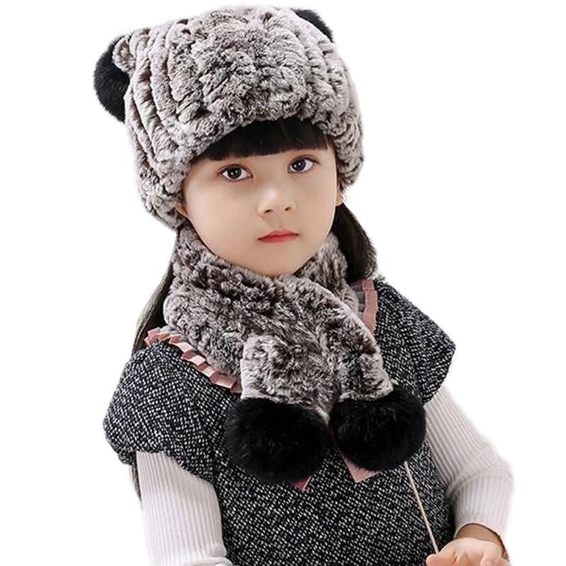 Children's Winter Hats Scarf Girls Real Rex Rabbit Fur Beanie Cap For Christmas Hand-Woven Fluffy Soft