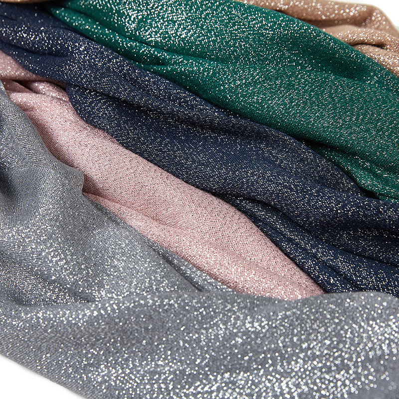 10pc/lot Glitter Tassel Scarf Muffler Muslim Hijab Headband Long Fashion Wraps With Silver Thread Plain Scarf Hijab Thin Soft