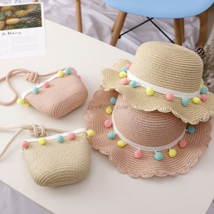 Kids Girls Large Wide Brim Straw Woven Sun Protection Beach Hat Colorful Pompom Ball Summer Floppy Bucket Cap Portable Handbag