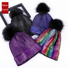 New Women Knitted Beanies Hat Fur Pompom Paillette Bling Hat Winter Girl Keep Warm Bling Beanie Cap Chapeu Feminino Pom Pom Hats