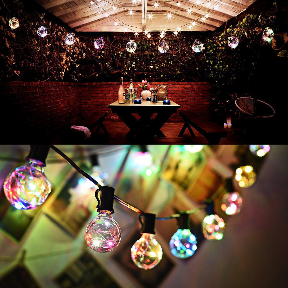 38FT/11.6M 30 Bulbs G40 Globe String Lights For Indoor Outdoor Home Patio Garden Cafe Wedding Party Christmas Decoration D20