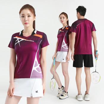 Koreański koszulka sportowa garnitur Badminton wear koszule kobiety tenisa stołowego mężczyzn odzież sportowa T-shirt z krótkim rękawem spódnica do tenisa szkolenia tanie i dobre opinie HAMEK Męskie POLIESTER Wilgoć odprowadza Ultralekki Szybkoschnący oddychająca