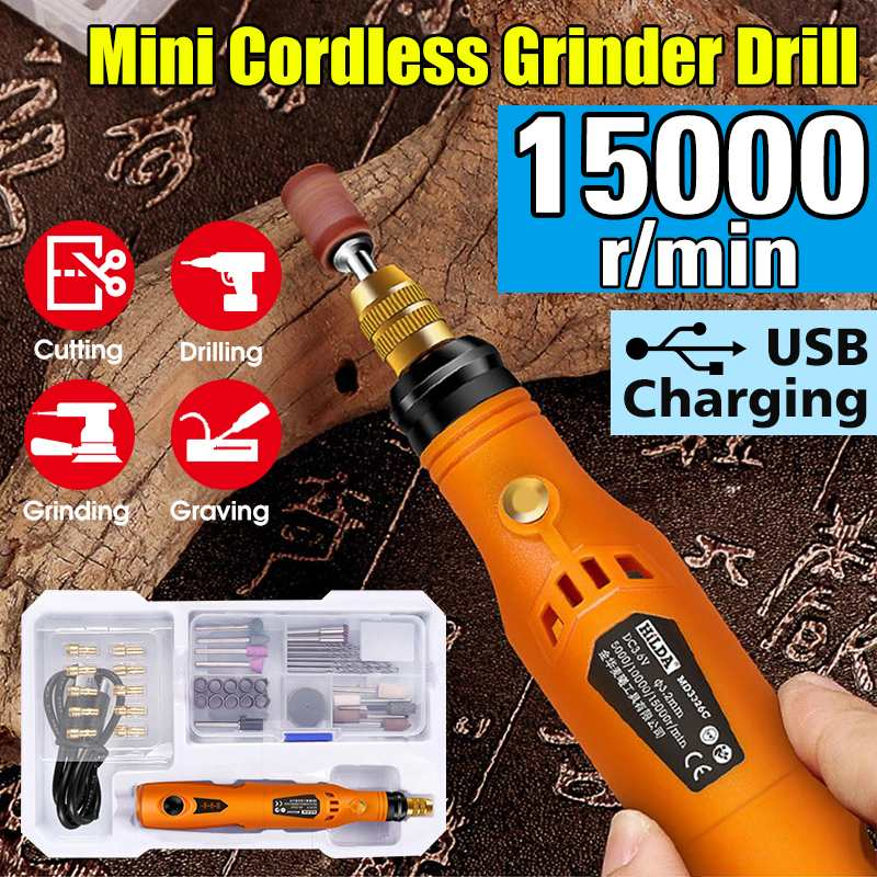 Cordless Mini Electric Grinder 3 Speed Engraving Pen Polishing Machine Small Manual Drilling Machine with Battery