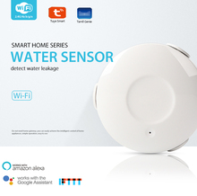 Detector de alarma de fugas de agua WIFI Sensor de agua seguridad del hogar inteligente con Alexa Echo Google Home