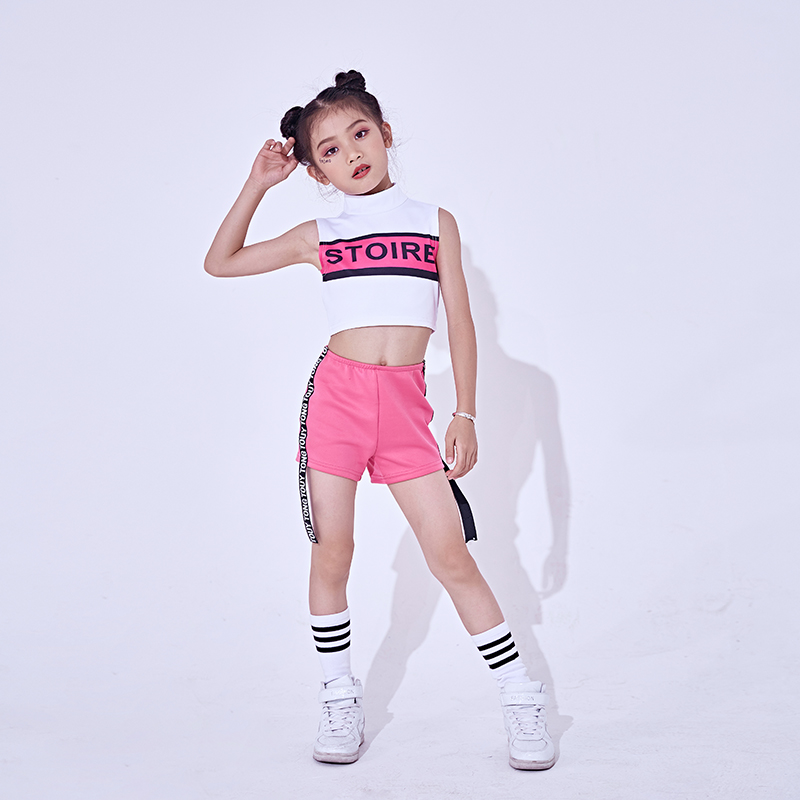 2020 New Hip Hop Kids Jazz Pink Cheerleading Dance Costumes Stage Outfit Girls Child Jazz Street Dancing Performance Clothes