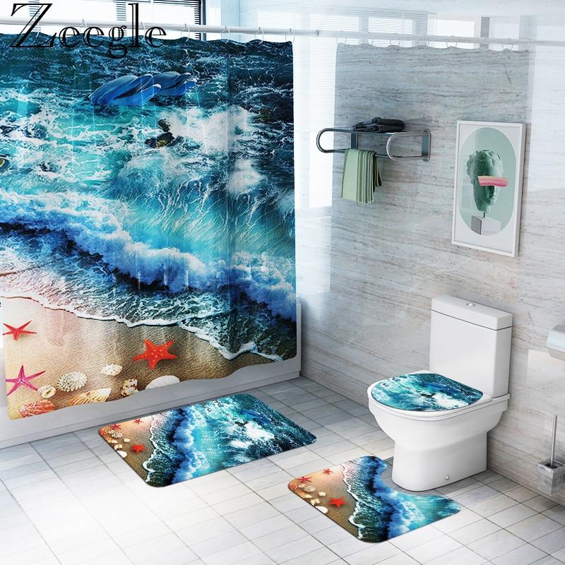 Zeegle Waterproof Bathroom Curtain Shower Curtain Anti-slip Bathroom Carpet Toilet Cover Mat Foot Mat Washable Bathroom Rug Set