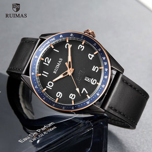 Image 3 - RUIMAS Fashion Mens Watches Luxury Leather Strap Quartz Watch Man Top Brand Military Sports Wristwatch Relogios Masculino 573
