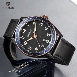 Image 3 - Мужские наручные часы RUIMAS, Роскошные Кварцевые часы с кожаным ремешком, спортивные наручные часы в стиле милитари, модель 573
