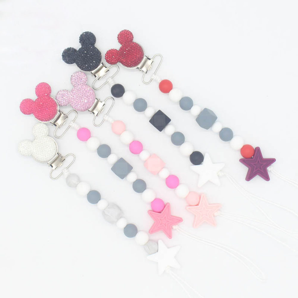 Pacifier Clips Cartoon Mouse Perle Silicone Teat Attachment Pacifiers Holder Chain BPA Free Cute Fixation Toys Bebe Fille Gifts