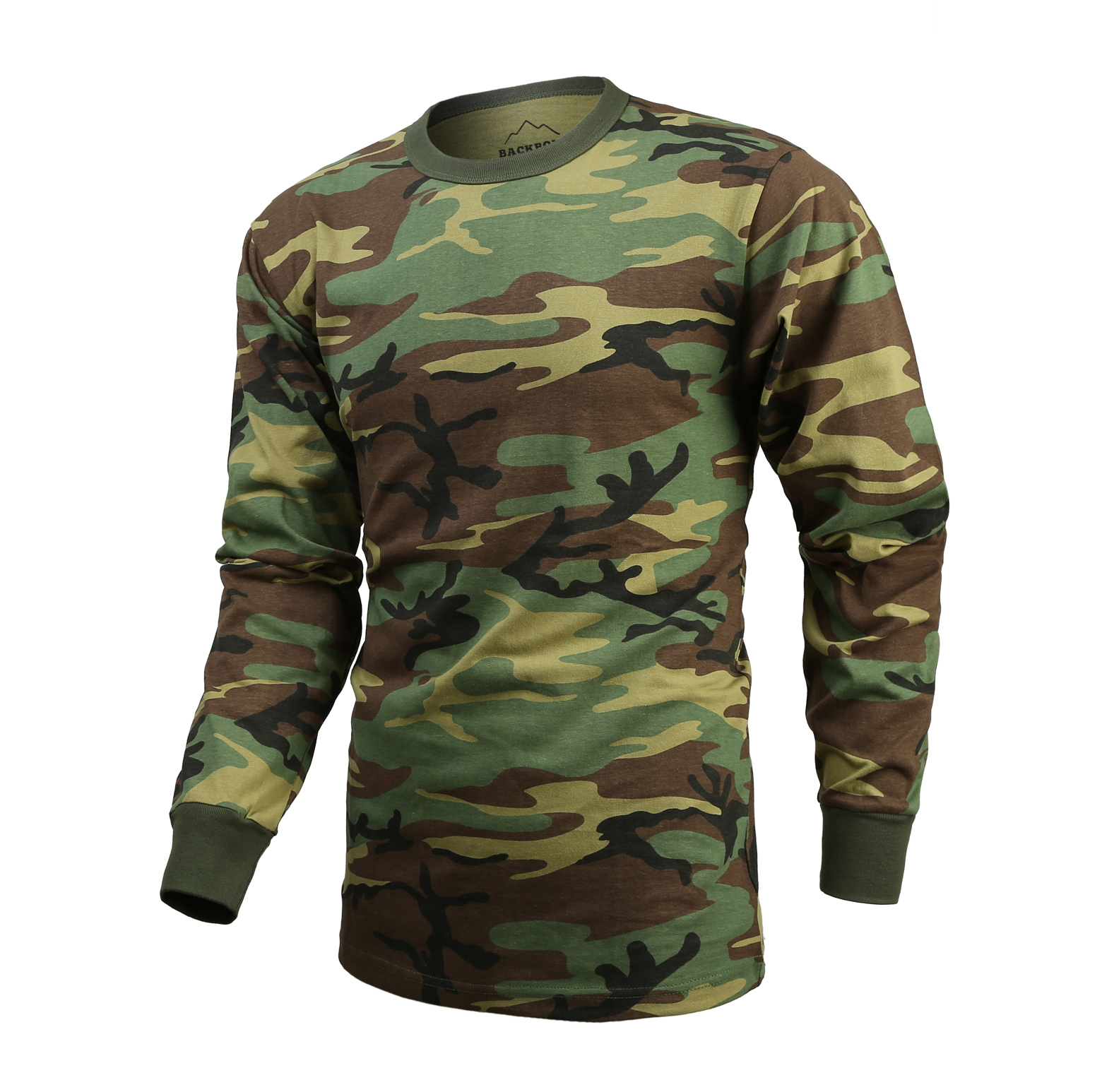 Mens Army Military Outdoor Gym Training Boot Camp Woodland Camo Long Sleeve T-SHIRT Tee