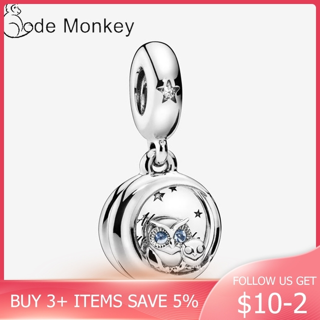 CodeMonkey Little Owl Charm Authentic 925 Sterling Silver Beads Fit Original Bracelet Hot Sale DIY Jewelry Making CMS1504