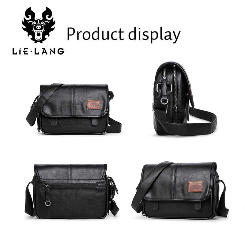 Lielang crossbody sacos de moda bolsa de ombro dos homens casuais saco do mensageiro dos homens à prova dwaterproof água marca de couro macio sacos de ombro