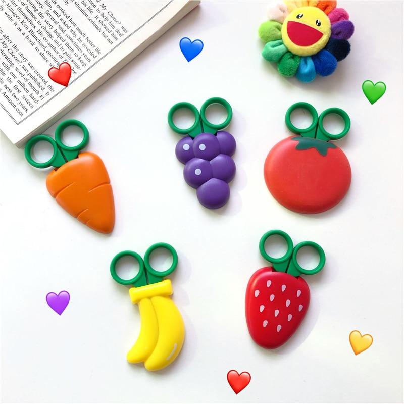 Cute Cartoon Fruits Modeling Scissors With Magnet Refrigerator Subsidies Portable Student Kawaii Mini Scissors School Stationery