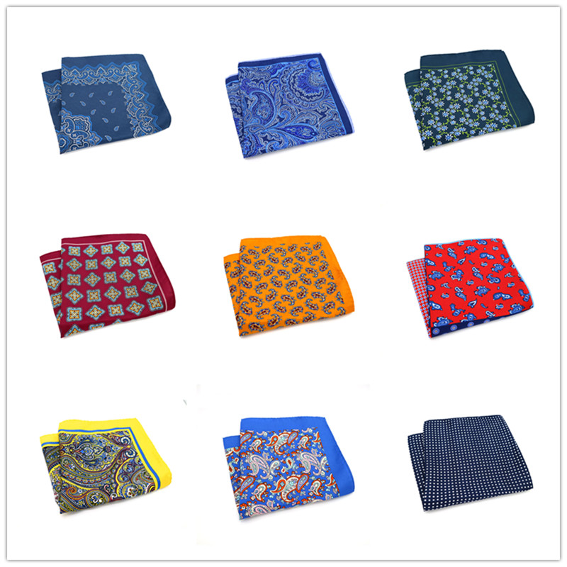 SF02 Thin Soft Wedding Party Handkerchief Business Polyester Silk Flower Paisley Pocket Square 34cm Big Hanky Accessories Towel