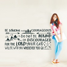 Классический виниловый стикер на стену цитата из библейского стиха Джошуа 1:9 цитаты наклейки быть сильным и смелым слова мальчик детская комната Домашний декор
