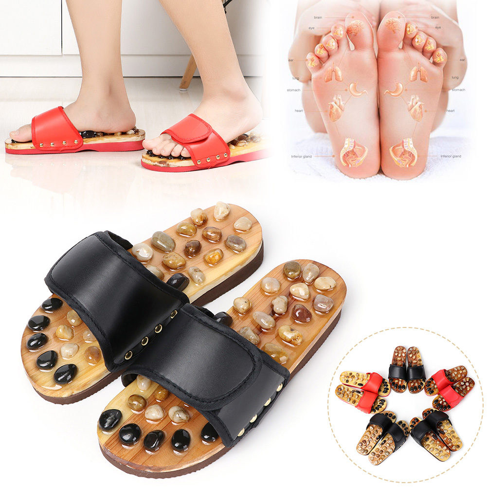 Wholesale Pebble Stone Foot Massage Slippers Reflexology Feet Elderly Acupuncture Health Shoes Sandals Slippers Healthy Massager