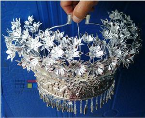 Серебряная повязка на голову Miao, серебряная шляпа для танцев в китайском народном стиле
