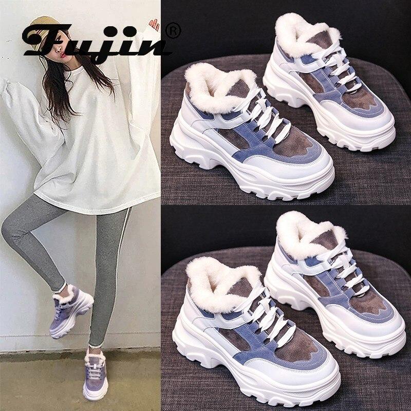 Fujin Women Winter Sneakers Fashion Plush Keep Warm Round Toe Breathable Thick Bottom Cross Tied Platform Causal Women Shoes