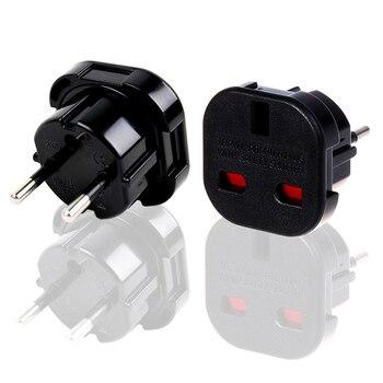 Adaptador de cobre preto universal ce 240v 10a 16a, energia ac para plugue adaptador da ue 4.0mm 2 pinos soquete conversor multifuncional,
