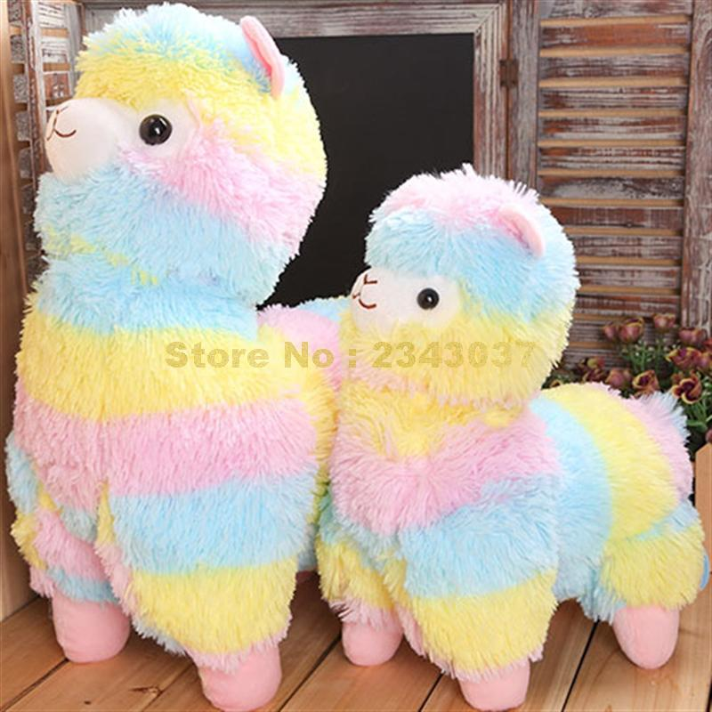 colorful stripe rainbow alpacasso alpaca plush doll stuffed pillow cushion Toy title=