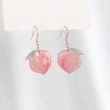 New European and American Lady Earrings Fruit Fashion Long Ear Nail Honey Peach Acrylic Earrings Pink Peach Drop Earrings Dangle цена 2017