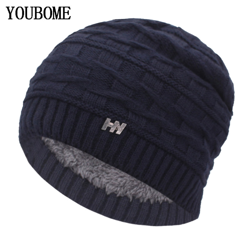 YOUBOME Skullies Beanies Winter Hats For Women Knitted Hat Men Famale Gorras Baggy Winter Beanie Hat Warm Soft Knitting Hat Caps