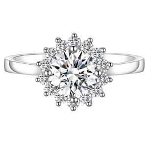 Image 5 - עגול כסף Moissanite טבעת 1ct D VVS יוקרה Moissanite Weding טבעת לנשים