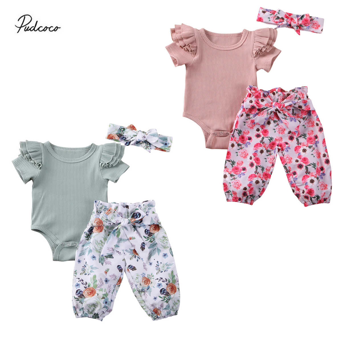 2020 Baby Summer Clothing 3Pcs Baby Outfit Set Baby Girl Clothes Ruffle Short Sleeve Ribbed Romper + Floral Pants + Bow Headband