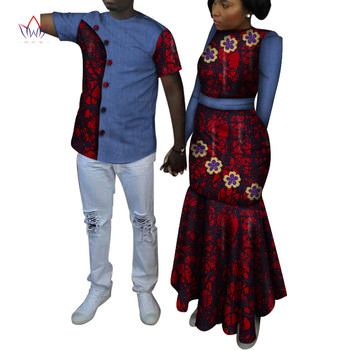 African Ankara Print Clothes for Couple Dashiki Elegant Lady Party Dresses and Men Shirts Cotton African Clothing WYQ491 2020 african dashiki design clothes for lady print appliques with two pockets spring
