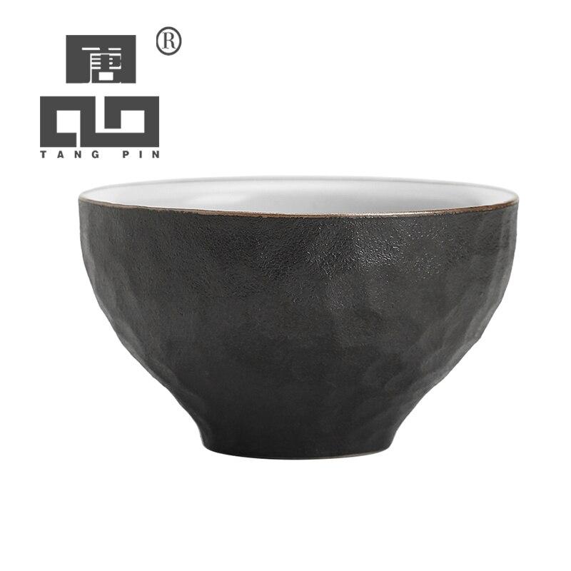 TANGPIN taza de té de cerámica negra para puer tazas de té de porcelana taza de kung fu chino Cuenco de alimentación de bebé divertido juguete de doble mango a prueba de derrames taza galletas Snack Bowl regalo Niños Accesorios tazas u