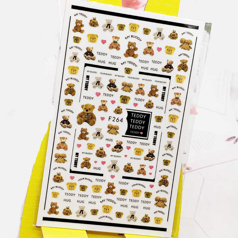 3Dเล็บสติกเกอร์น่ารักตุ๊กตาหมีDesigns Nail Artสติกเกอร์ฟอยล์Decalsเล็บอุปกรณ์เสริมเล็บDecoraciones
