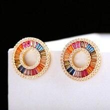 Classic Corful CZ Round Ladies Earrings Trendy Geometric Gold Stud Earrings Wedding Earrings Boucle D'oreille