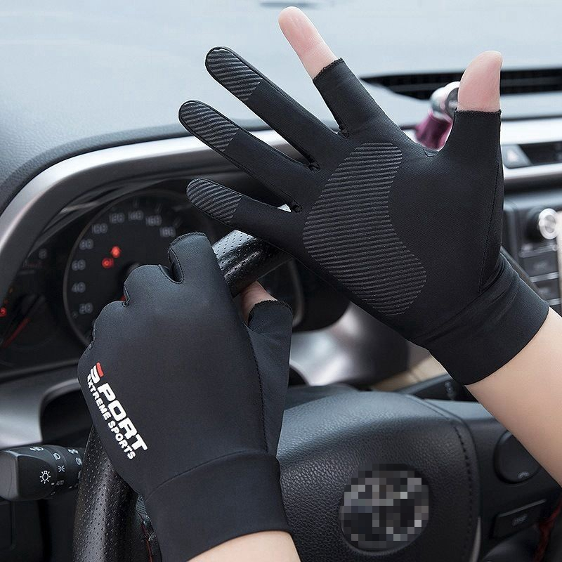 Sports Golf Ice Silk Riding Driving Gloves Two-Finger Fishing Gloves Non-Slip Fitness High-Elastic Ultraviolet Protection Gloves