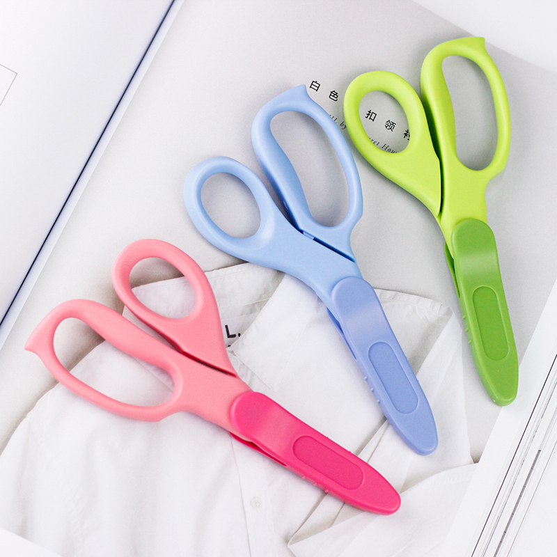 1pc Children DIY Student Scissors WSG-HS27 Safe Flat Angle Blade Standard Paper-cutting Tools Left Or Right Handed Design