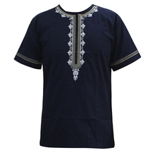 African Shirt Dashikiage for Men Casual O-Neck Appliques Short-Sleeve Tops