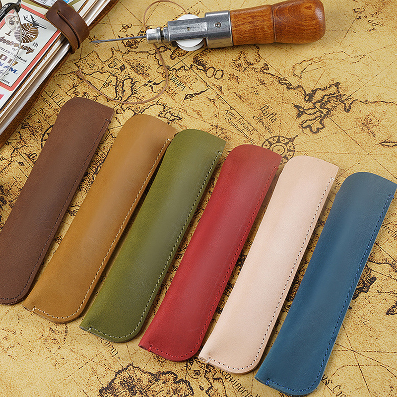 Pen Bag Vintage Retro Style Handmade Genuine Leather One Pen Pencil Bag Real Leather Travel Journal Supplies