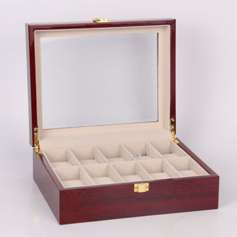 fileira 10 grades de madeira caixa de relógio masculino