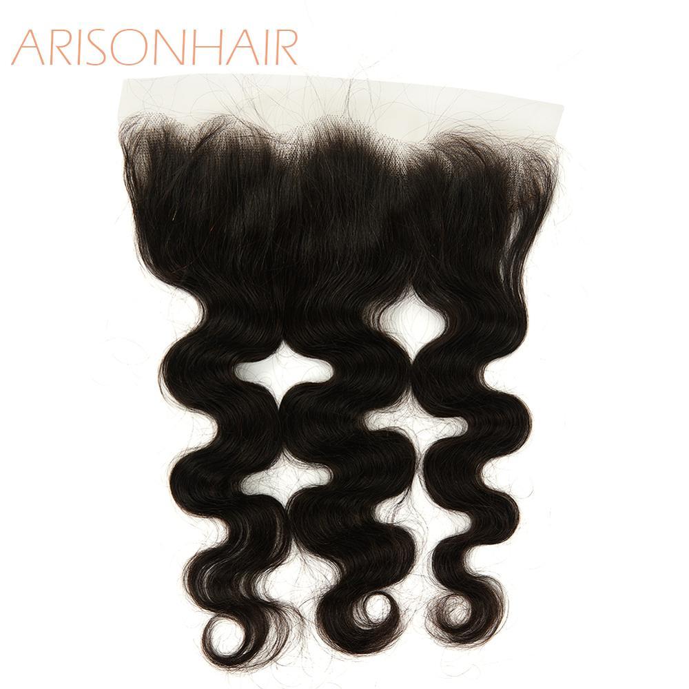 Hd laço frontal 13x4 onda do corpo laço suíço cabelo humano frontals transparentes cor natural beleza brasileira para sempre remy cabelo