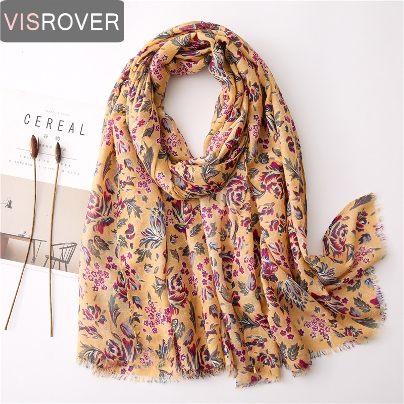 VISROVER Summer Scarf For Women Girl Viscose  Yellow Floral Scarf  Lady Tropical Print Scarf Beach Scarfs Sun Protection Shawl