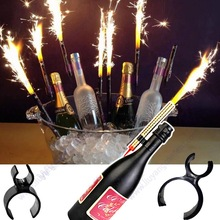 Single Champagne Bottle Birthday Candle Sparkler Firework Safety Ice Fountain Plastic Clip Holder Night Club Cake Party Wedding