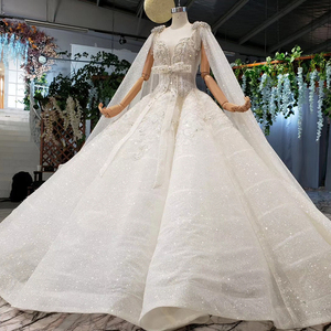 Image 3 - HTL973 ball gown wedding dresses detachable sleeve shawl o neck bow belt bead wedding gowns with tail glitter robe mariage femme