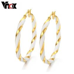 Vnox Gold-color Big Hoop Earrings for Women Jewelry Fashion Female Earrings Birthday Gifts