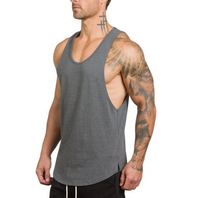 Koszulki typu Tank top na siłownię mężczyźni Fitness kulturystyka trening bawełniana koszulka bez rękawów NWXZ18 tanie tanio CN (pochodzenie) Jodełkę Na co dzień Stałe Tank top for men COTTON O-neck tops Tank tops
