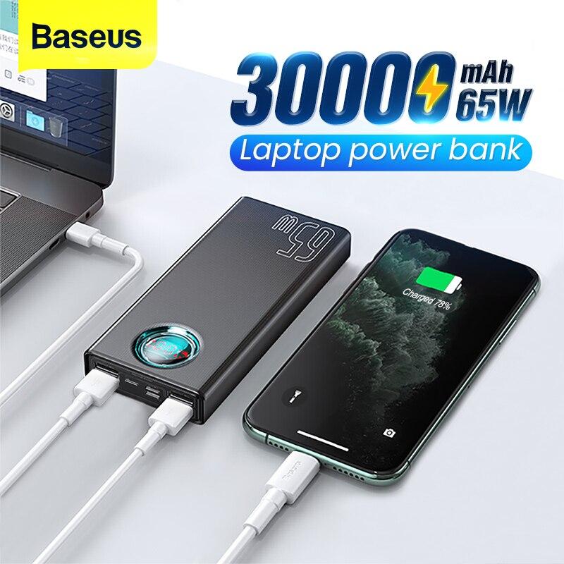 Baseus 65W Power Bank 30000mAh USB C PD Quick Charge 30000 Powerbank Portable External Battery Charg