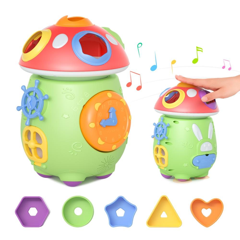 Multifunctional Musical Toys Baby Fun Music Mushroom Cart Musical Electronic Geometric Blocks Sorting Learning Educational Toys