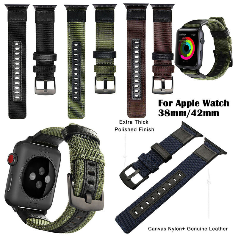 Nylon Military Leather Wristband For IWatch 38/40/42/44mm Watch Strap for Apple Watch Series 5 4 3 2 1 Outdoors Sports Loop image