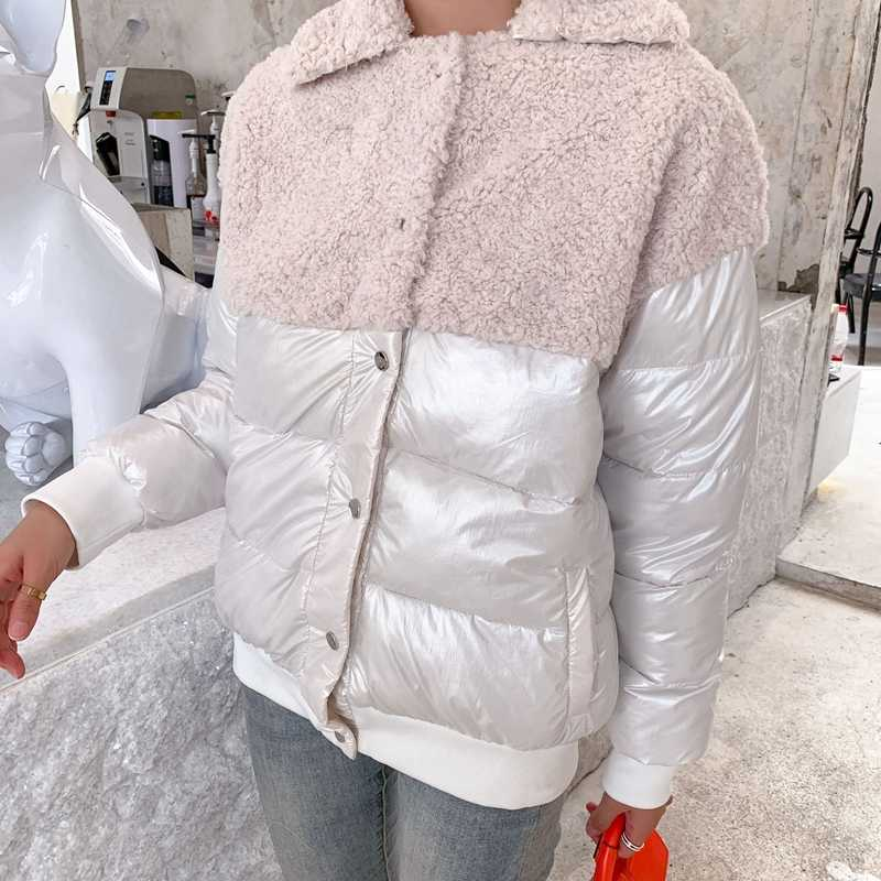 Female 2019 splicing new fashion cotton Korean style lapel short loose down jacket wild casual winter pure color pink white coat