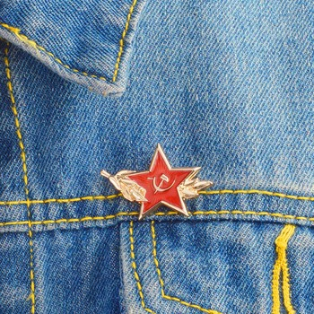 Red Star Hammer Sickle Communism Symbol USSR Pins Badges Brooches pins Soviet Union Marxism Logo brooches for women Jewelry image